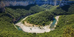 The Famous Bend of the Ardeche River in Gorges de l'Ardeche, South-Central France