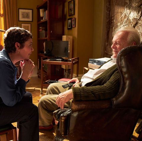 olivia colman as anne, anthony hopkins as anthony, the father movie stills