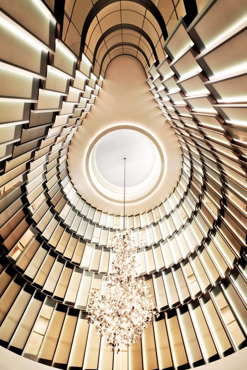 Architecture, Symmetry, Building, Ceiling, Daylighting, Design, Circle, Interior design, Pattern, Stairs,