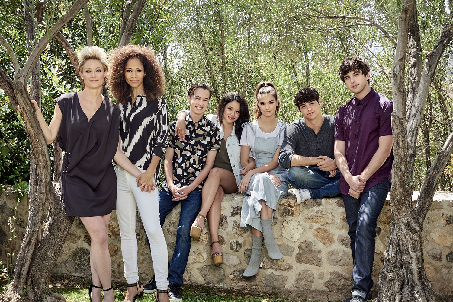 Freeformss 'The Fosters' stars Teri Polo as Stef, Sherri Saum as Lena, Hayden Byerly as Jude, Cierra Ramirez as Mariana, Maia Mitchell as Callie, Noah Centineo as Jesus, and David Lambert as Brandon.