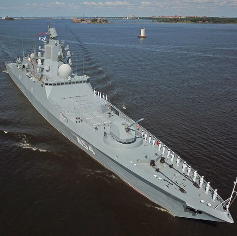 Dress rehearsal for Russian Navy Day Parade in St Petersburg