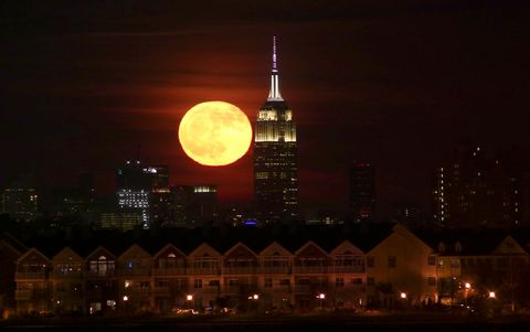 Full Moon Rises Behind the Empire State Building in New York City