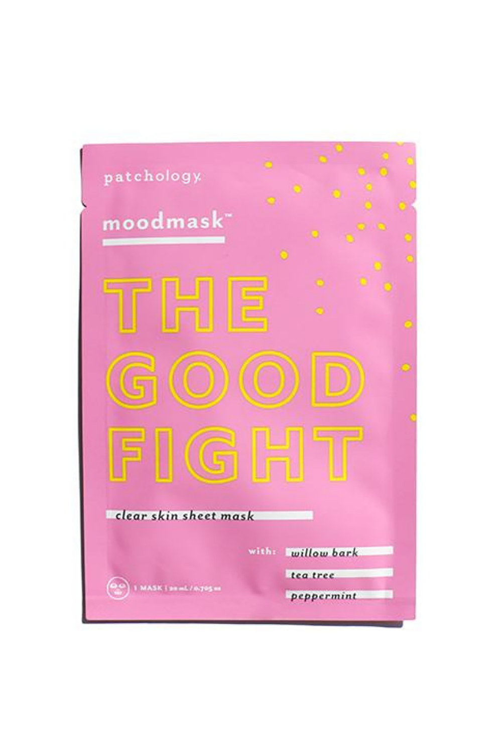 Patchology moodmask ''The Good Fight'' Clear Skin Sheet Mask Patchology moodmask ''The Good Fight'' Clear Skin Sheet Mask, $5 SHOP IT When your skin is angry at you for something and decides to get you back with a breakout, this mask will be your knight in shining armor. It's made with willow bark, tea tree, and peppermint to vacuum-out clogged pores, soothe inflammation, and control your skin's oil production.