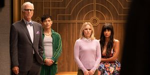 The Good Place - Ted Danson as Michael, Manny Jacinto as Jason , Kristen Bell as Eleanor, Jameela Jamil as Tahani