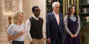 The Good Place, series 4 finale - Eleanor, Chidi, Michael and Janet