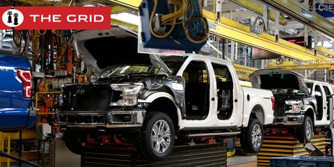 this photo shows ford 2018 and 2019 f 150 trucks on the assembly line at the ford motor company's rouge complex on september 27, 2018 in dearborn, michigan   ford motor company's rouge complex is the only one in american history to manufacture vehicles  including ships, tractors and cars  non stop for 100 years photo by jeff kowalsky  afp        photo credit should read jeff kowalskyafp via getty images