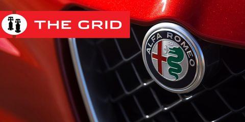 Motor vehicle, Vehicle, Emblem, Alfa romeo, Logo, Car, Badge, Family car, Wheel, Trademark,