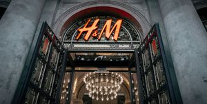 The H&M logo, the Swedish chain of clothing and accessories...