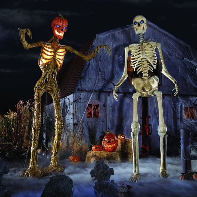 the home depot home accents holiday 12 foot giant sized inferno pumpkin skeleton and skeleton with lifeeyes