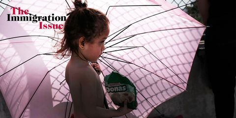 Umbrella, Pink, Human, Organism, Fashion accessory, Child, Black hair, Smile,