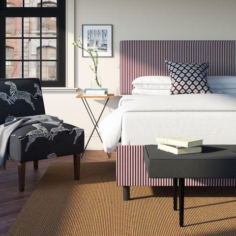 Furniture, Room, Bedroom, Bed, Interior design, Bed frame, Bed sheet, Bedding, Window covering, Nightstand,
