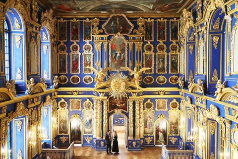 renovated chapel of catherine palace near st petersburg