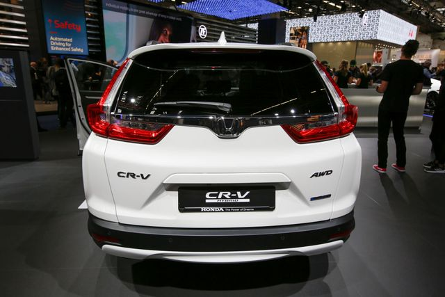 the japanese car manufacturer honda displays the honda cr v