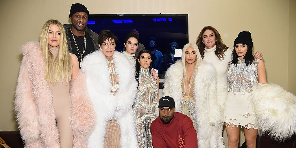 The Kardashian family with Kanye West, Lamar Odom and Caitlyn Jenner at Yeezy show