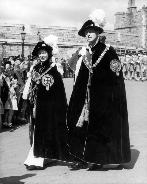 Princess Elizabeth And Philip As English Knights In 1948