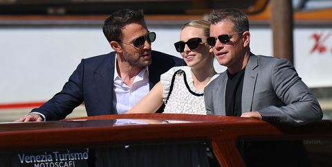 """us actor ben affleck, british actress jodie comer and us actor matt damon arrive aboard a vaporetto taxi boat to attend a photocall for the film """"the last duel"""" presented out of competition on september 10, 2021 during the 78th venice film festival at venice lido photo by marco bertorello  afp photo by marco bertorelloafp via getty images"""