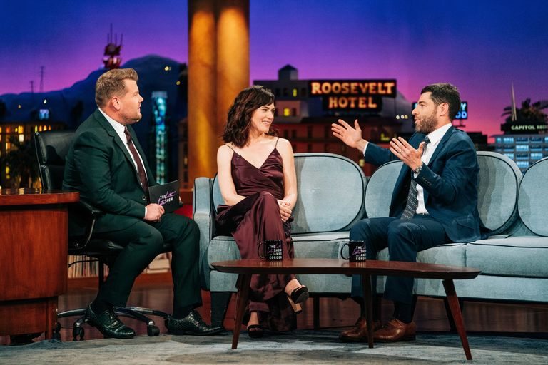 Greenfield speaks with James Corden and Maggie Siff on The Late Late Show .