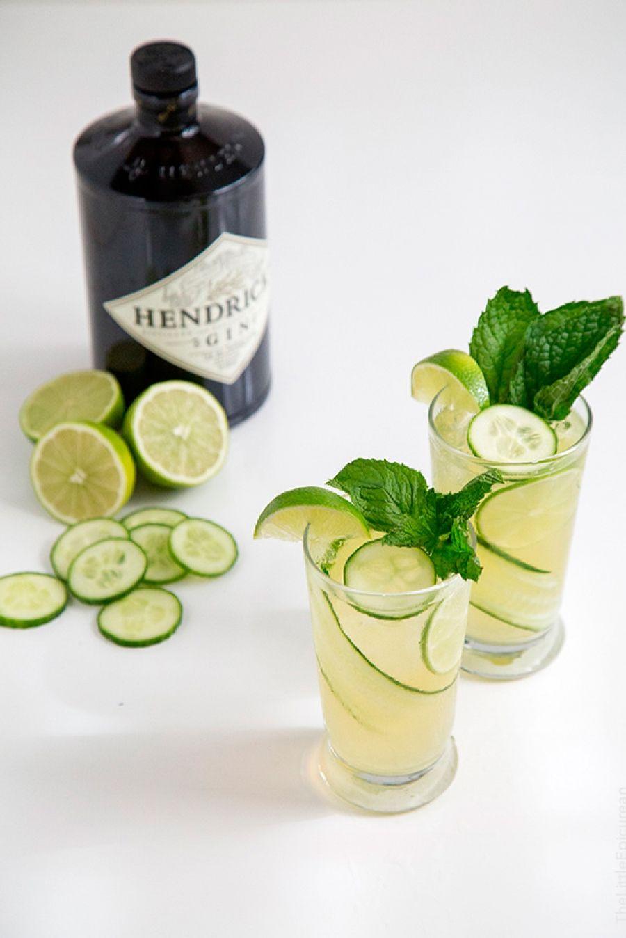 gin cocktail met komkommer en munt