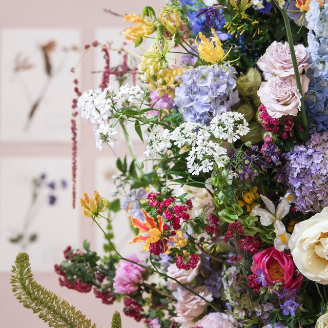 'The Living Herbarium' floral display by Gail Smith. Floristry. RHS Chelsea Flower Show 2019.