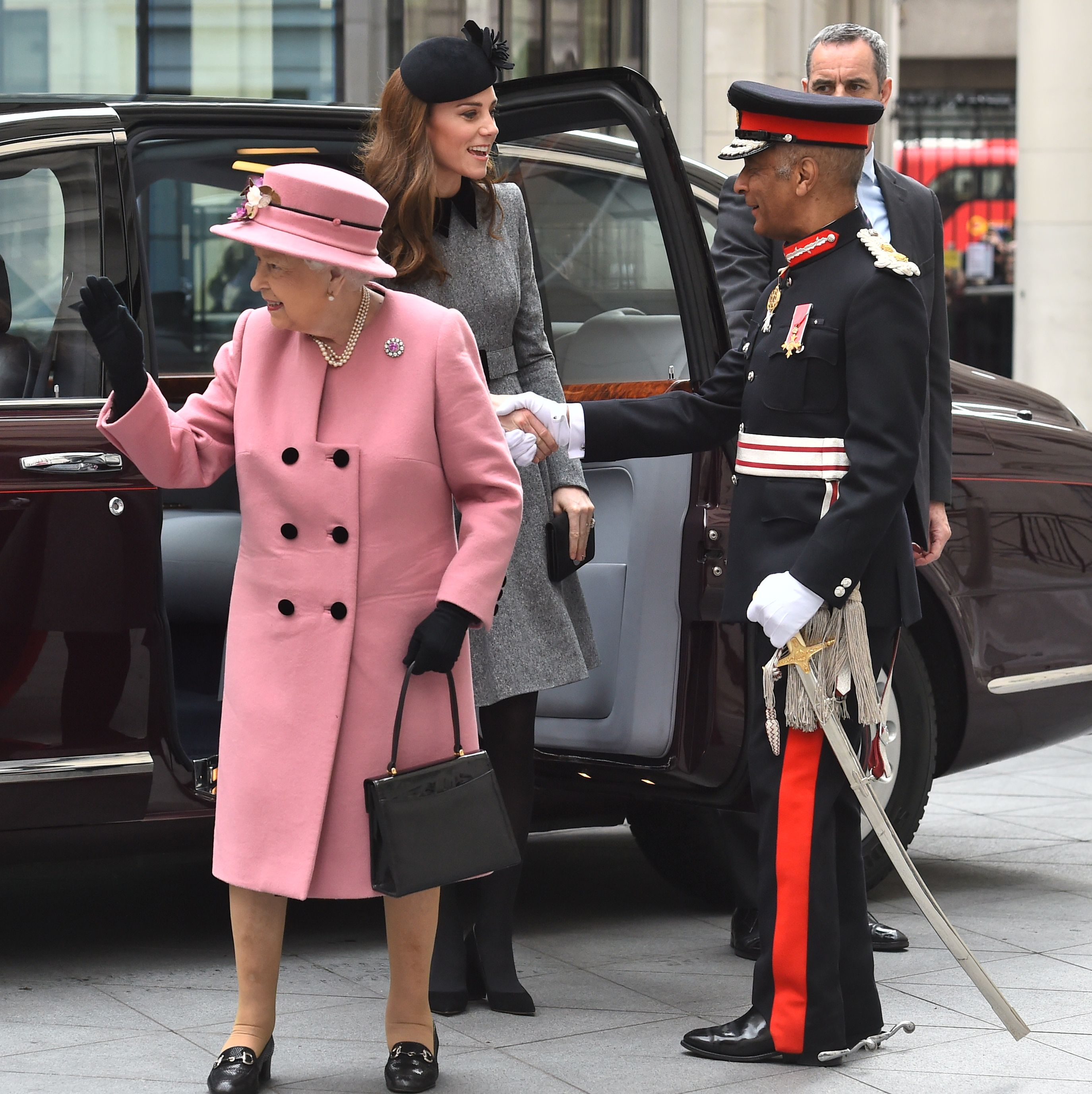 Kate Middleton Wore a Grey Catherine Walker Dress for Rare Engagement With the Queen at King's College