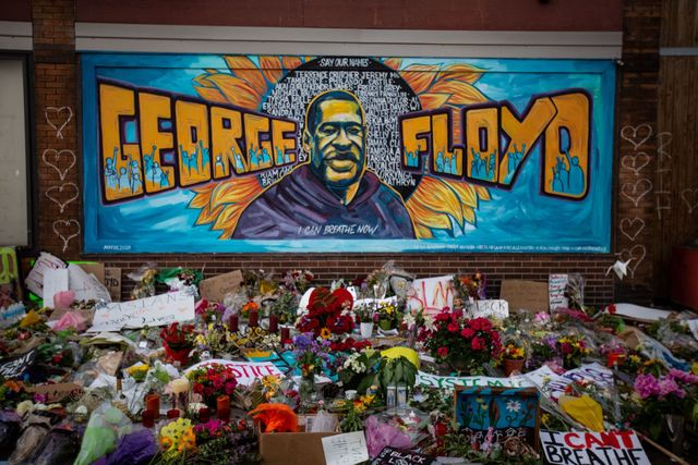 the makeshift memorial outside cup foods where george floyd was murdered by a minneapolis  police officer