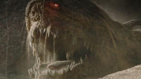 el dragón krayt en una escena de the mandalorian