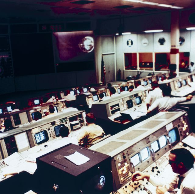 Mission Operations Control Room during the Apollo 10 mission, 1969.