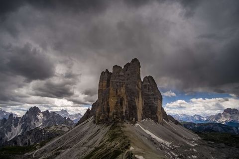 The mountain group Tre Cime di Lavaredo, seen from...