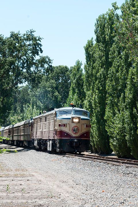 The Napa Valley Wine Train, a privately operated excursion train that runs between Napa and St. Hele
