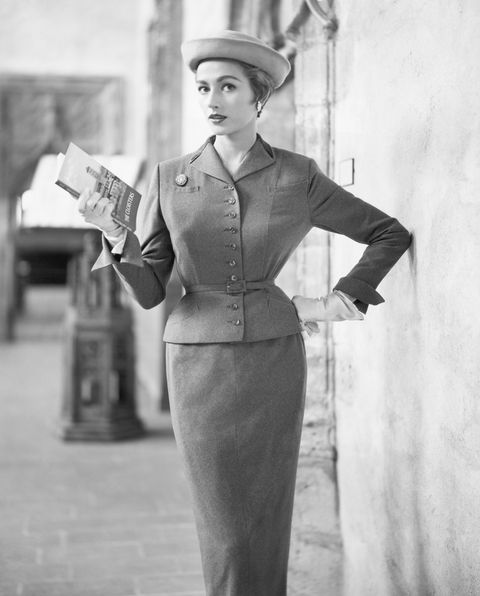 woman modeling chesterfield suit outside