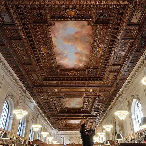 the new york public library's historic rose main reading room after reopening to the public following a 2 year restoration project