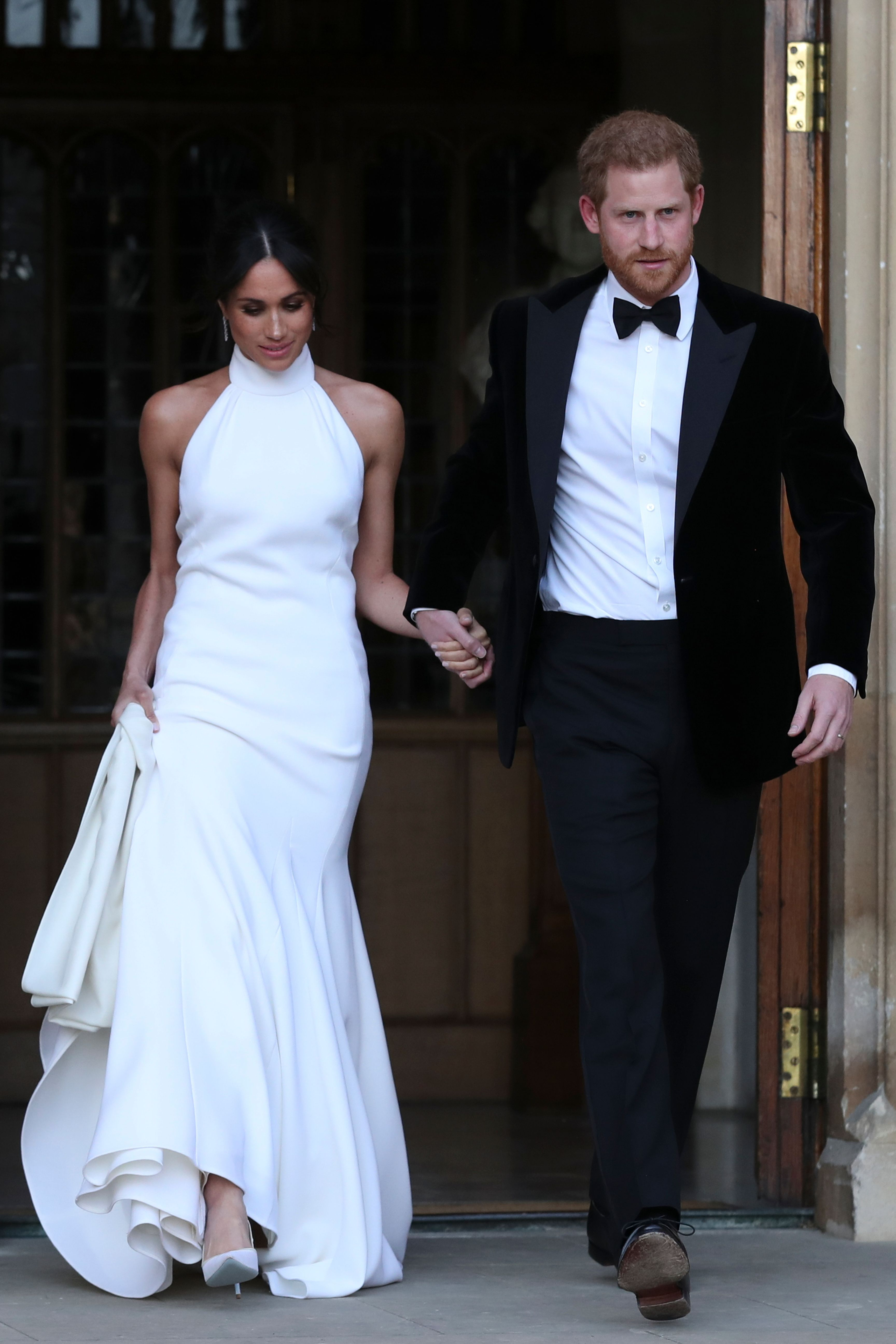 Arguably the most highly anticipated wedding of 2018 , Meghan Markle married Prince Harry on May 19 at St George's Chapel in Windsor. The bride wore two bespoke gowns, Givenchy Haute Couture designed by Clare Waight Keller for the ceremony, and custom Stella McCartney (pictured here) for the subsequent party.