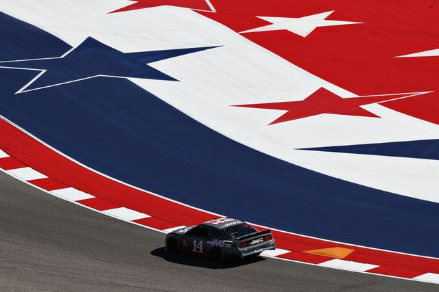 tony stewart, kevin magnussen and romain grosjean drive the no 14 haas automation ford mustang in a demonstration run at circuit of the americas