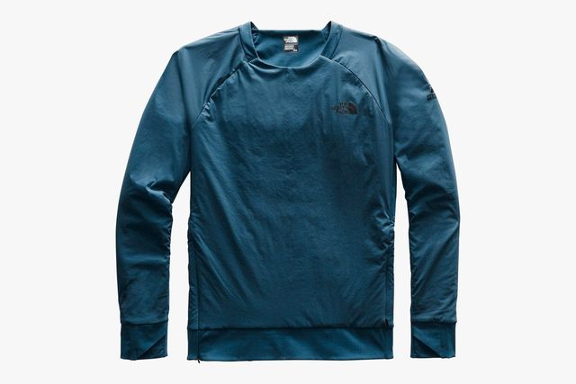 a blue pullover layer