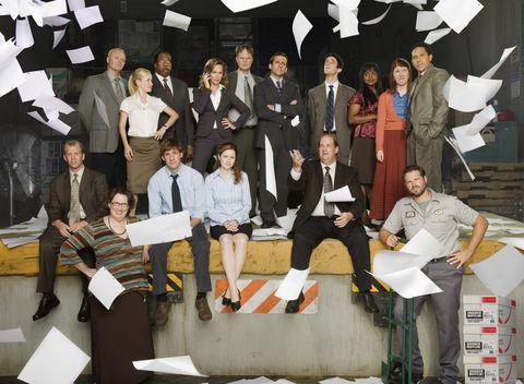 The Office US cast including Steve Carell, John Krasinski, Rainn Wilson, Jenna Fischer and BJ Novak.