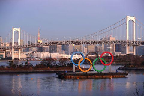 お台場にある東京オリンピックの五輪オブジェ