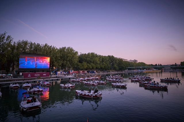 paris plages' floating cinema sails socially distant boats