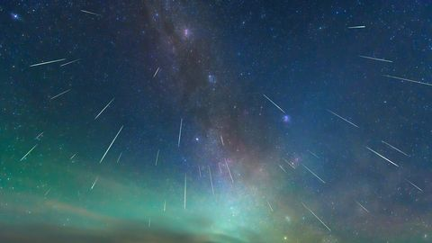 the perseid meteor shower shot in august 13, 2018, at erenhot, inner mongolia china