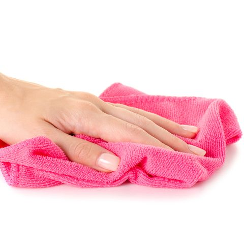 The pink microfibre rag cloth in hand pattern