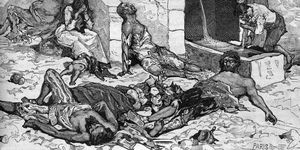 The plague made many victims in Paris in 1544, engraving taken from the book 'Paris through the centuries, Tome1' (1878)