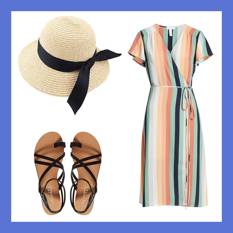 Clothing, Hat, Footwear, Dress, Headgear, Sun hat, Beige, Day dress, Peach, Fashion accessory,