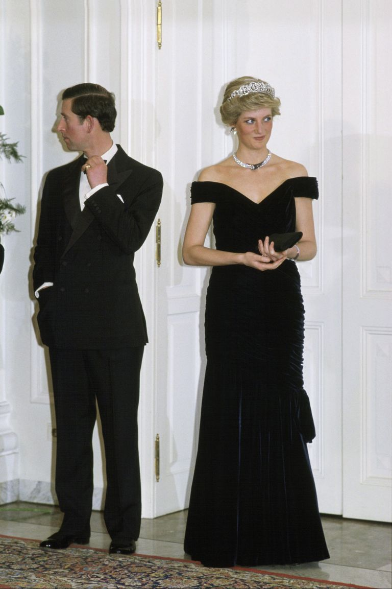 Princess Diana's velvet dress by Victor Edelstein is one of her more iconic ensembles. The Princess wore this dress during a visit to the White House in 1985, where she famously danced with John Travolta.