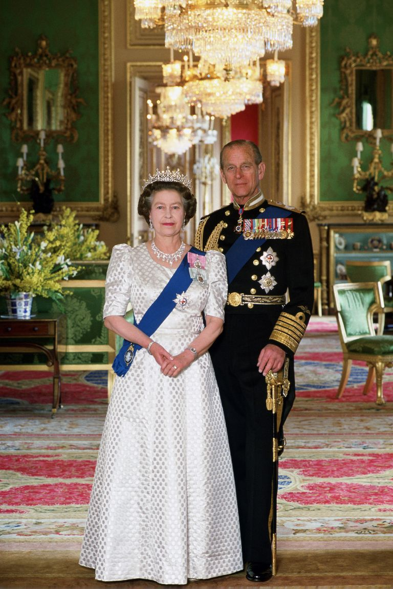 In this portrait taken to celebrate her 40th wedding anniversary to Prince Philip, Queen Elizabeth chose a white dress with a dot pattern. She accessorized with a sparkling tiara and elaborate diamond necklace as well.