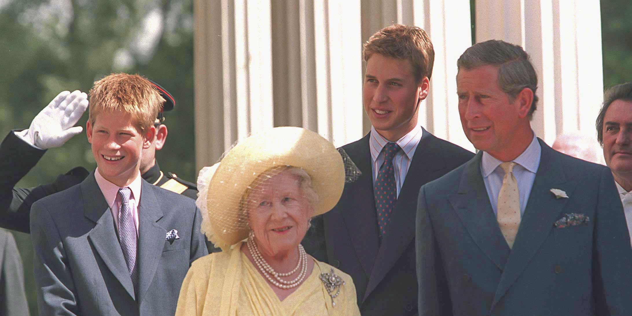 Queen Mother with Prince William and Prince Harry