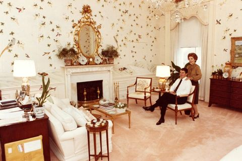 the reagans' bird wallpaper pictured was later replaced by the clintons