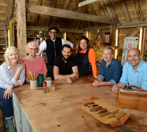 bbc's the repair shop, series 5 – julie tatchell, amanda middleditch, jay blades, dominic chinea, lucia scalisi, kirsten ramsay, brenton west l r