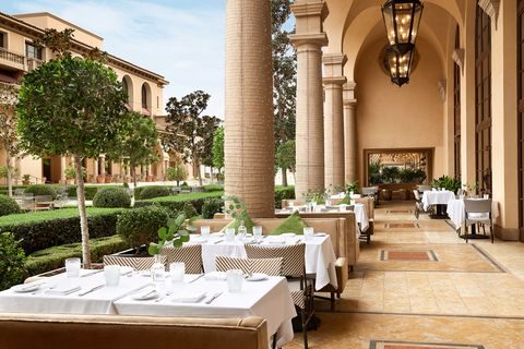 the restaurant terrace at the maybourne beverly hills