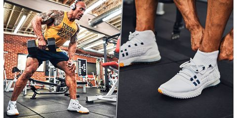 dwayne johnson zapatillas levantar peso
