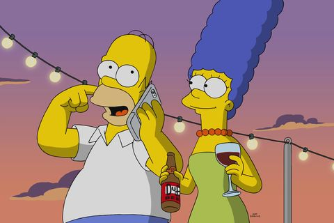 homer talks on the phone while marge carries beer and wine, the simpsons