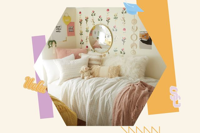 the sorority house room, flower wall, white and pink bed linen